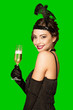 Art deco party girl on green screen background.