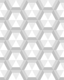 Geometric gray hexagon seamless pattern, vector