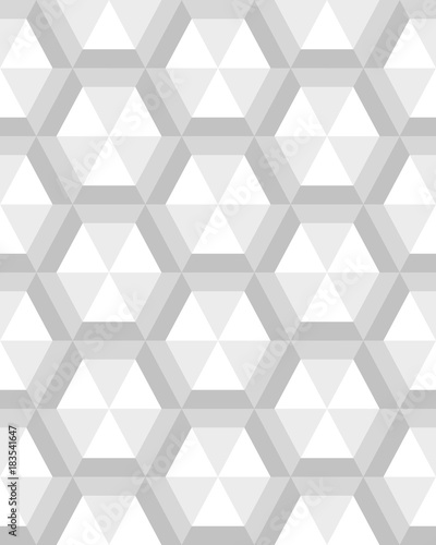Geometric gray hexagon seamless pattern, vector - 183541647