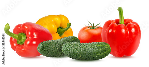 In de dag Verse groenten Fresh vegetable isolated on white background with clipping path collage