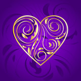 Golden Heart with Ornament in Purple - 183546023