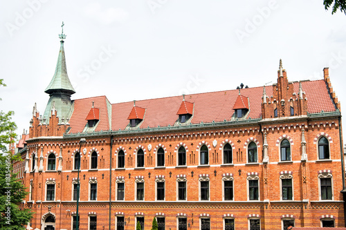 Papiers peints Cracovie House of red brick material in krakow, poland