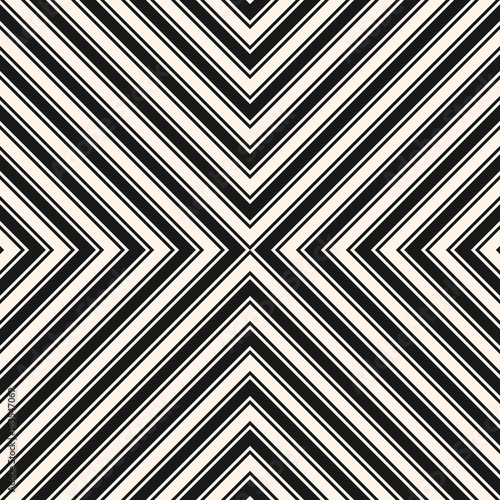 Cotton fabric Black and white stripes vector seamless pattern. Crossing diagonal striped lines