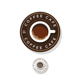 Coffee logo.  A cup of coffee and letters in the circle. - 183547624