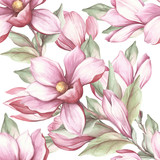 Seamless pattern with blooming magnolia. Watercolor illustration - 183548218