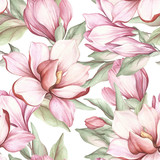 Seamless pattern with blooming magnolia. Watercolor illustration - 183548233