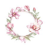 Frame with blooming magnolia. Hand draw watercolor illustration - 183548254