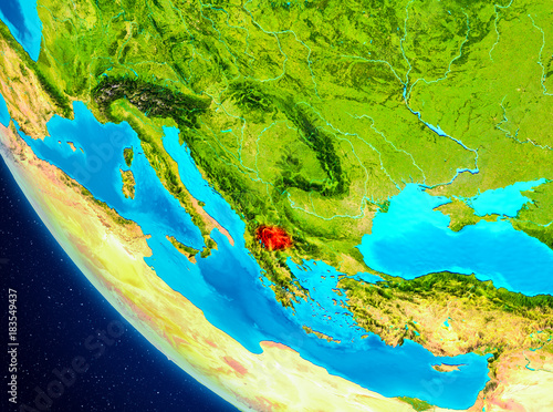 Macedonia on globe from space