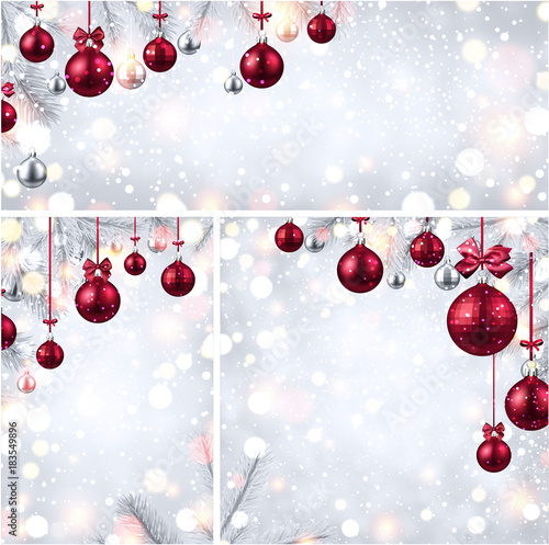Foto op Canvas Wanddecoratie met eigen foto New Year backgrounds with pink Christmas balls.