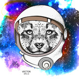 A cartoon cheetah in an astronaut's space suit. Character in space. Vector illustration - 183551075