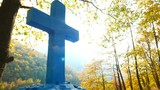 Greek blue cross on burial ground, autumnal forest scenery 4K - 183552003