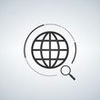 Global search icon, magnefying glass, circle around the world, vector illustration isolated on light background