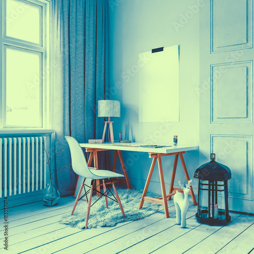Fotobehang Hipster Hert Little desk and chair in loft with large lamp