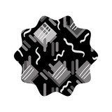 grayscale star with graphic memphis geometric background