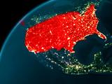 USA at night on Earth - 183560860