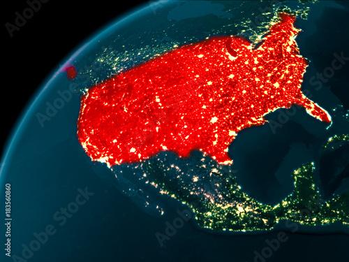 USA at night on Earth