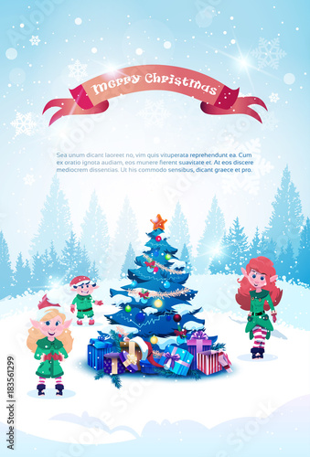 Deurstickers Lichtblauw Winter Holidays Background With Green Elfs Over Christmas Tree Tree Greeting Card With Copy Space Flat Vector Illustration
