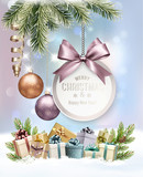 Merry Christmas Background with branches of tree and colorful gift boxes. Vector - 183565419