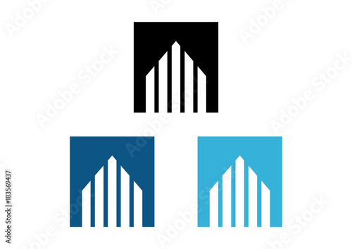 Simple Square Building Real Estate like Arrow Modern Logo Flat - 183569437
