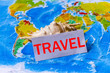 Image of the concept of travel, map with a shell. - 183570081