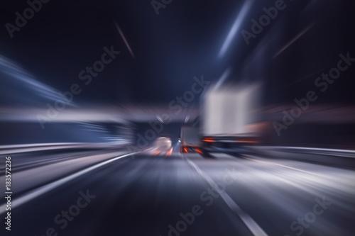 Foto op Aluminium Nacht snelweg truck moves on highway at night