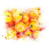 Closeup pile of ripe tomatoes. Watercolor painting (retouch). - 183572601