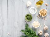 Homemade dill pesto sauce ingredients - 183577068