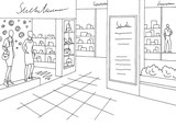 Shopping mall graphic black white interior sketch illustration vector - 183582648