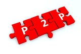 P2P puzzle white background concept 3D illustration
