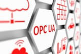OPC UA concept cell blurred background 3d illustration