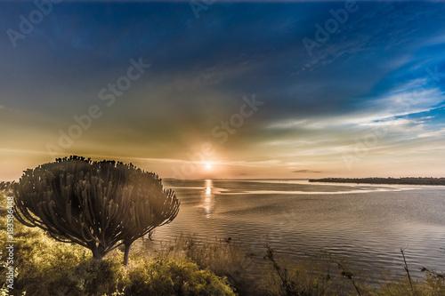 Poster Zee zonsondergang Sonnenuntergang am Viktoriasee