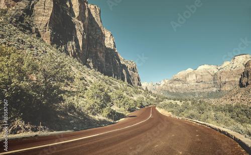 Plexiglas Natuur Scenic road in Zion National Park, retro color toned picture, USA.