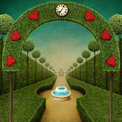 Conceptual fantasy green background with arch and Grand entrance to the Park with  fountain