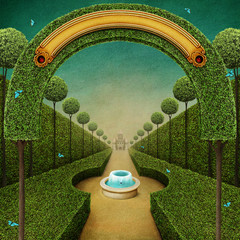Conceptual fantasy green background with arch and Grand entrance to the Park with  fountain.