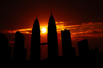 Kuala Lumpur cityscape silhouette on sunset in Malaysia