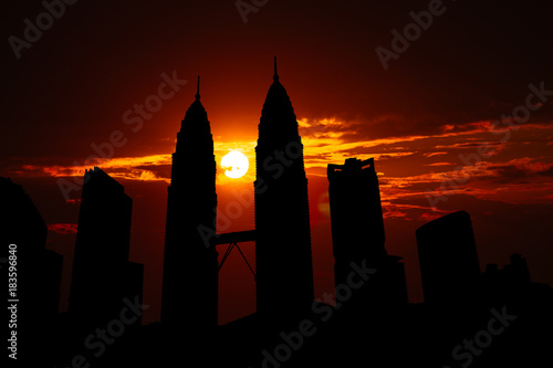 Tuinposter Kuala Lumpur Kuala Lumpur cityscape silhouette on sunset in Malaysia