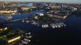 Dawn sunrise aerial of Stockholm, Sweden - 183597012