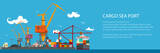 Horizontal Banner of Cargo Seaport , Cranes in Port Load Containers on the Ship or Unload, Poster Brochure Flyer Design, Vector Illustration - 183600453