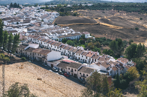 scenic view of spanish landscape with hills and buildings