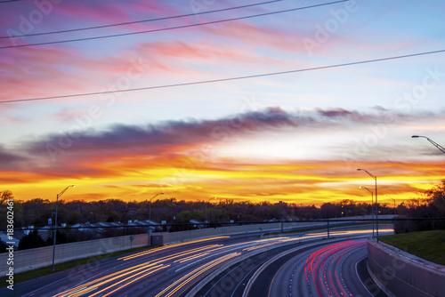 Foto op Aluminium Nacht snelweg Dallas Sky Long Exposure