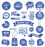 Super sale badges and labels vector collection blue edition - 183603693