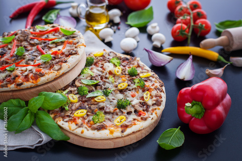 Papiers peints Pizzeria food ingredients and spices for cooking delicious italian pizza