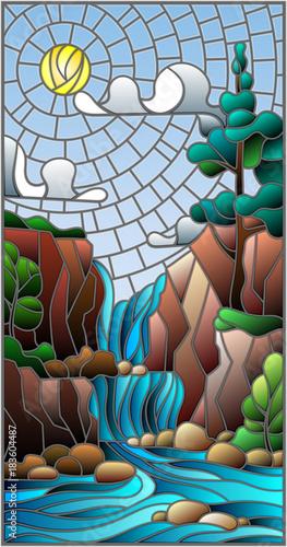 ilustracja-w-stylu-witrazu-krajobraz-drzewo-na-tle-wodospadu-gory-slonce-i-niebo