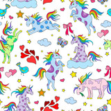 Seamless pattern with funny cartoon unicorns, hearts and stars color icons on white background - 183605474