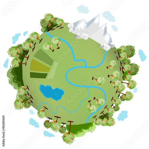 A green planet with many green trees, mountains, a river, a lake and with clouds around it