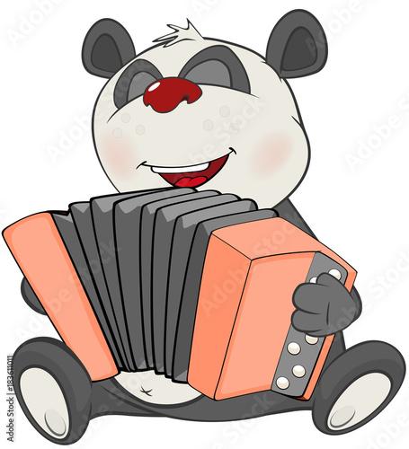 Deurstickers Babykamer Illustration of a Cute Panda Accordionist. Cartoon Character