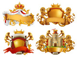 Coats of arms. King and kingdom. 3d vector emblem set - 183612453