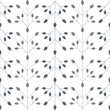 Modern vector floral seamless geometric pattern with  stylized rose hips berries and leaves in retro scandinavian style. Simple outlines with worn out texture. - 183615212