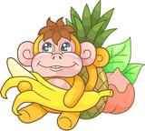 cartoon cute monkey with banana, funny illustration  - 183617206
