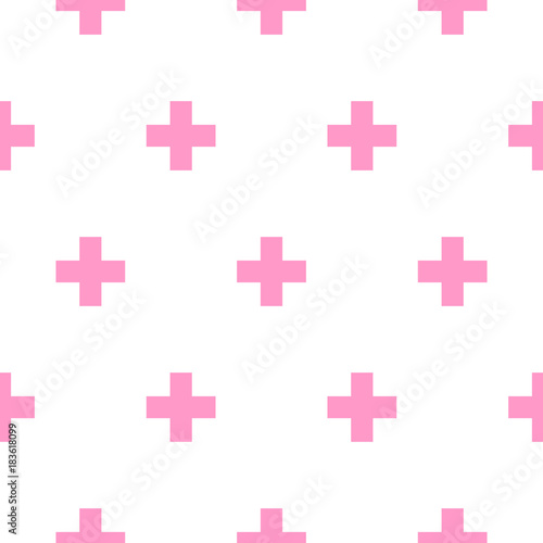 Cross pink and white simple baby scandinavian seamless vector pattern. - 183618099